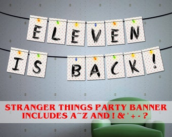 Printable Stranger things viewing party, Stranger things Season 2 party banner, 80s party décor, stranger things Christmas lights banner,