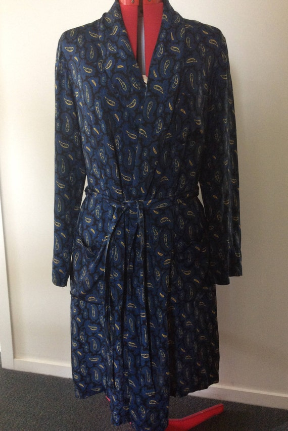 Wool Lounge Robe Vintage Mens Smoking Jacket , Dressing Gown by Eskay New Zealand