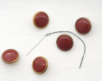 Red Buttons, Red Gold Buttons, Sewing Supplies, Four Red Buttons Deep Red Buttons Vintage Buttons Set, Button Set, Bakelite