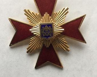 Vintage Red Enamel Maltese Cross Pin Pendant
