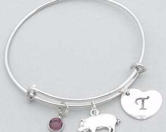 Pig charm bracelet with heart initial   personalised pig jewelry   pig bangle   pig gift   birthstone