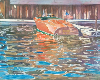 """Prints from the original watercolor """"The Wooden Boat"""" by LeAnne Sowa"""