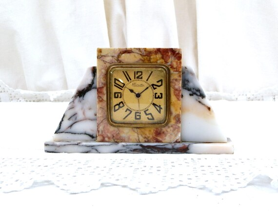 Antique Working Art Deco 1930s Marble Stone Wind Up Mechanical Alarm Clock Clairetta from France, French Old Clock 30s, Brocante Paris Decor