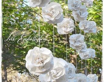 Curtain of 7 Garlands Vintage Book Page Paper Flower Roses Wedding Backdrop Decoration Fills 6 or 7 ft x 7 ft area Love Embellished Original