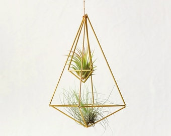 Hanging Air plant holder, Himmeli Double No02, gold plant hanger, air plant geometric planter, airplant display, home decor gift, DO02