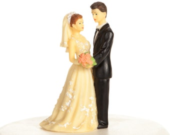 Vintage 1970s Bride and Groom Wedding Cake Topper - 70805
