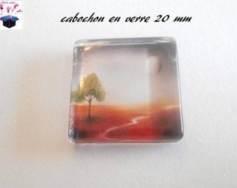 1 cabochon clear square flat 20 x 20 mm tree fall theme