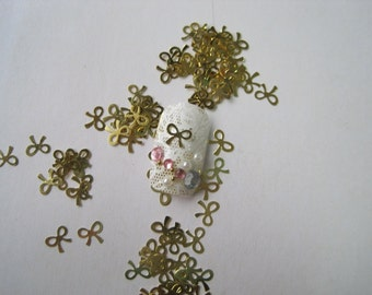 No.2 MS40 100pcs Nail art Gold Bow Metal Sticker Nail Art Deco