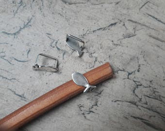 Bead the way leather thick fish bronze, Destash, low price