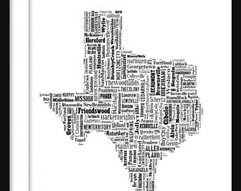 Texas Typography Map Poster Print