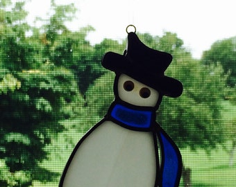 Vintage Stained Glass Snowman, Stained Glass Christmas Decor