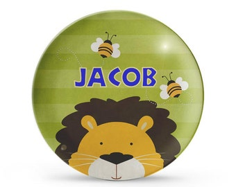 Personalized Plate, Lion Dinner Plate, Personalized Circus Birthday Melamine Cake Plate