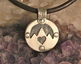 Small Double Sided Sterling Silver Pendant - Handmade - Flower - Mountain w/Heart - Riveted