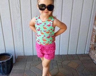 Flamingo Leotard, Ballet, Watermelon, Bodysuit, Baby Leotard, Toddler Leo, Dance, Gymnastics Leotard, Leotards for Girls