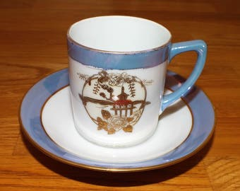 Pretty Vintage Noritake Lustre Handpainted Bone China Tea Cup and Saucer
