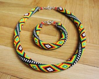 "Bead Crochet Necklace ""Bucovina"", Bead crochet rope, Colorful Crochet Necklace, Seed Bead Necklace, Beaded jewelry, Bangle Necklace Beadwork"