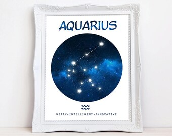 Aquarius art Zodiac constellation art print