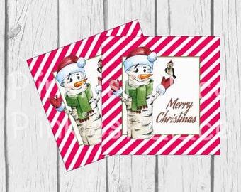 Merry Christmas Tags Snowman Tags Christmas Tags Holiday Tags Gift Tags Favor Tags Set of 10 - T615