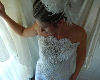 Vintage Wedding Gown & Jacket - Beaded Strapless Wedding Dress with Bolero Jacket - Size 10 Wedding Dress - Vintage Bridal Gown