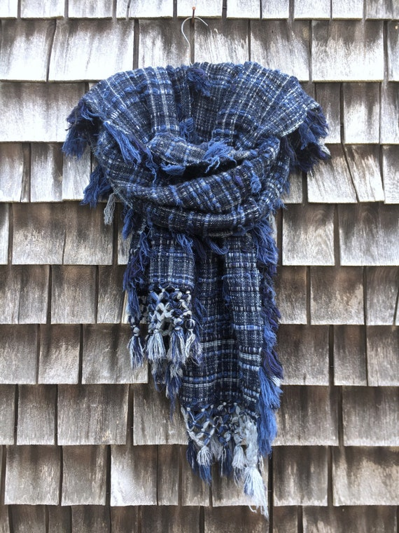 Distressed Cashmere Scarf - Navy, Grey