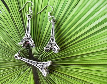 charm Eiffel Tower pendant and earrings set of 3 pieces