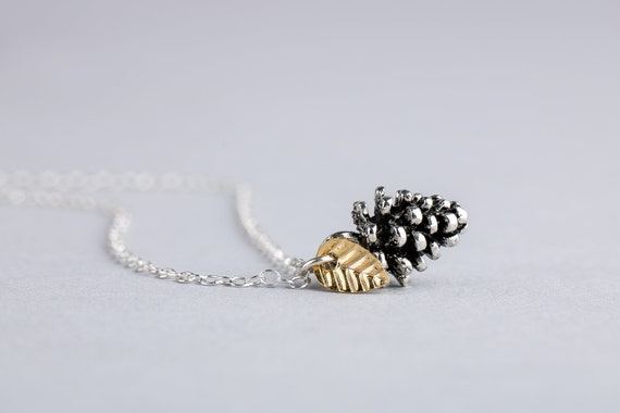 Tiny Silver Pinecone Necklace - Small Pinecone Charm with Leaf in Sterling Silver - Fall, Autumn, Winter Christmas Jewelry