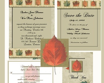 Fall Splendor Design Wedding  Invitation Package Editable Download