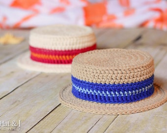 CROCHET PATTERN - Cabana Boy Hat - sun hat pattern for boys,  barbershop hat pattern, boater hat (baby - adult sizes) - Instant PDF Download