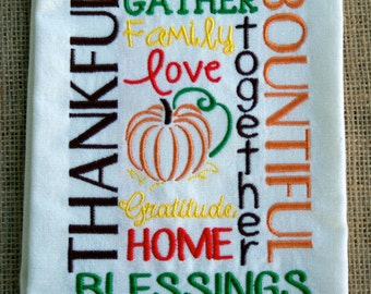 Blessings Towel- Embroidered Flour Sack Towel- Vintage Kitchen Towel- Autumn Kitchen Decor- Fall Home Decor- Custom Embroidery
