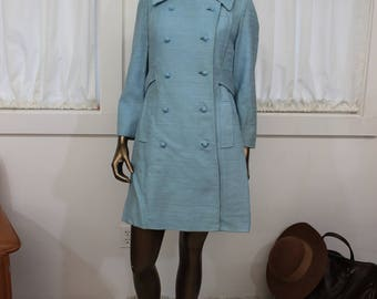 Blue dress and matching coat 1960's, vintage fashion |