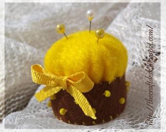 Miniature pincushion - YELLOW - 100% wool felt mini cushion for pins , bottle cap ,  recycled , thecraftdesk