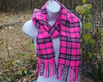 Pink Punk Handwoven Scarf - Hot Pink and Purple Woven Plaid Scarf - Handmade in Kansas, USA - one of a kind weave yarn