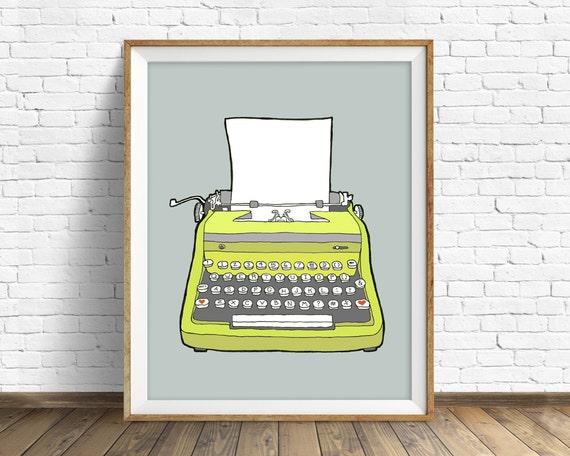 """vintage typewriter, drawing, illustration, art print, large art, large wall art, gray, colorful modern, prints - """"Vintage Typewriter No. 1"""""""
