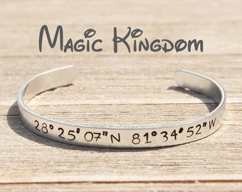 MAGIC KINGDOM GPS Coordinates Cuff Bracelet - Disney World - Disney Parks Fan Gift - Stamped Metal Bangle - One Size Fits All