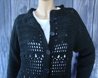 Crochet Cardigan, Black Cardigans, Black Cardigan, Cotton Cardigan, Crocheted Cardigans, Crochet Cardigans, Cardigans, Available in M/L