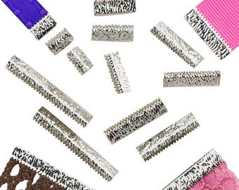 Platinum Silver No Loop Ribbon Clamps Crimp Ends in Assorted Sizes - Artisan Series (10 pieces)
