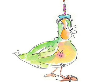 "BIRTHDAY DUCK..Clipart / Digital Download / Hi Resolution of Original Watercolor . 8""x10"" Great for a multitude of applications."