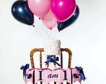 WHALE 1st BIRTHDAY BANNER / 1st birthday girl / I am 1 highchair banner / Nautical birthday banner / Highchair birthday banner / One banner