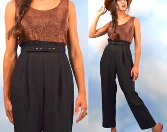 Vintage 80s 90s Copper Lurex and Black Jumpsuit (size medium)