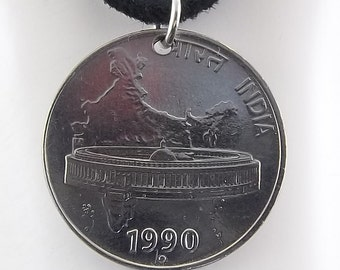India Coin Necklace, 50 Paise, Mens Necklace, Womens Necklace, Coin Pendant, Leather Cord, Vintage, 1990, 1991