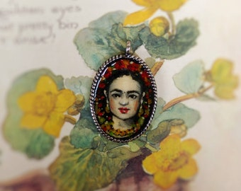 Baby Frida, Original oil painting necklace