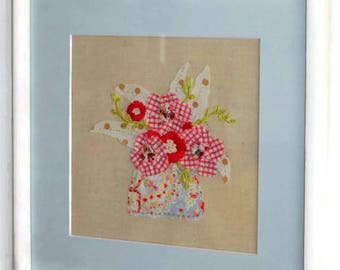 Framed Embroidery, Framed Textile Art, Wall Art, Fabric Collage, Mixed Media
