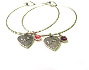 Sister Bangle Bracelet W/ Birthstone Sterling Silver Finish Choose One or More