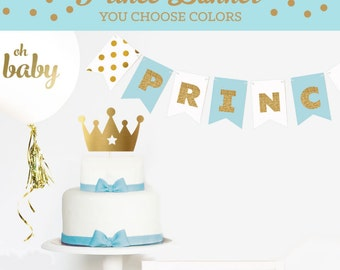 Prince Baby Shower Decorations - Little Prince Baby Shower BANNER Decor - Royal Prince Baby Shower Ideas - Boy Baby Shower Themes (EB3062)