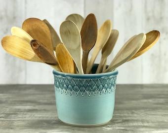 Utensil holder:  Ceramic utensil crock blue ombre utensil holder porcelain large utensil crock blue kitchen decor blue kitchen accessories