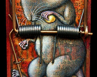 Creepy cute sad mouse art print 4.5x10, Victor's Victim: Pop surrealism animal print. Macabre painting, mousetrap oddity curiosity 4.5x10