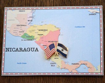 Nicaragua & USA Flag Pin/ Tie Tack / Lapel Pin / Friendship Flag Pin