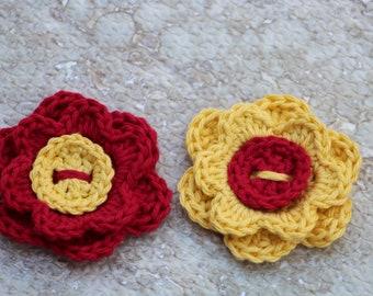 Crochet flowers, Spring flowers, Craft supplies, Fake flowers, Flower applique, Flower embellishment, Spring decor, Crochet applique