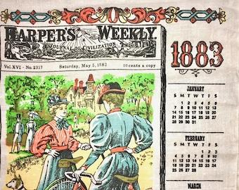 Vintage Calendar Towel. Harper's Weekly. Ladies on Bike. With Hanging Dowel.