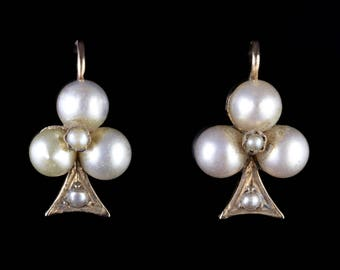 Antique Victorian Pearl Earrings 18ct Gold Circa 1900 Boxed